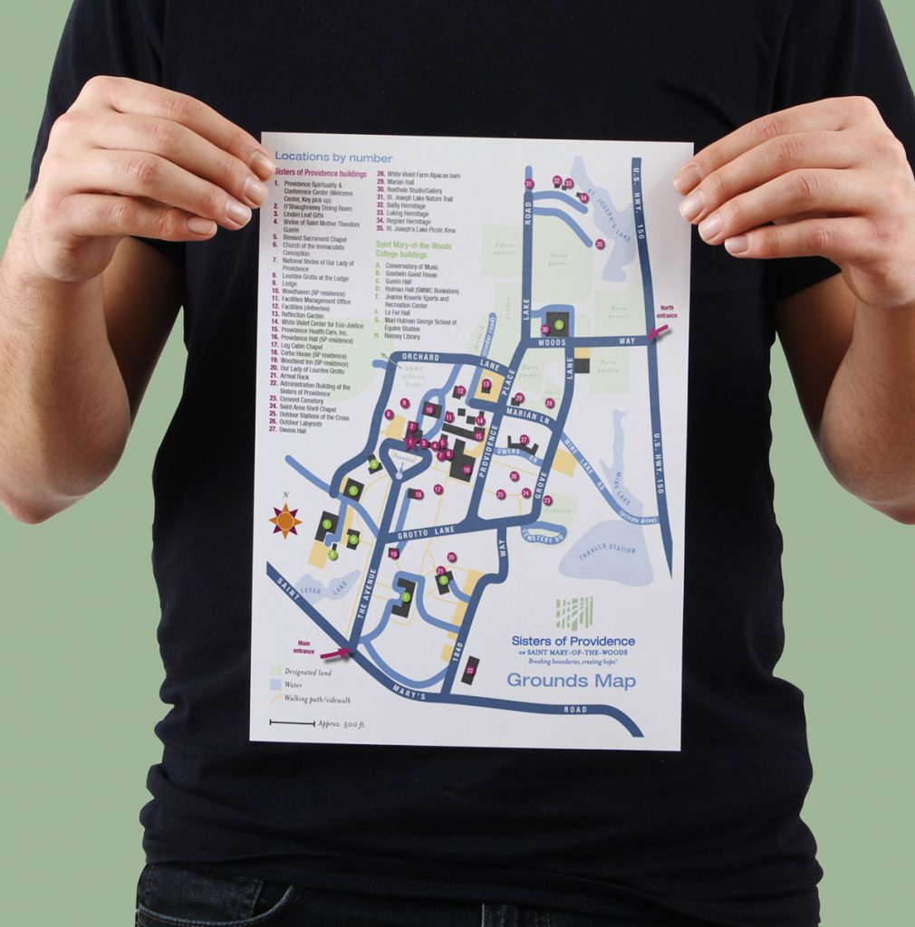 The main grounds map is two-sided, one with locations listed alphabetically and the other listed numerically.