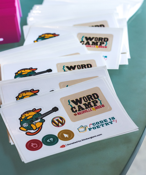 In addition to the #wcnash branded elements, the sticker sheets include the adorable Wapuu we drew for the conference.